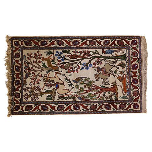 """Antique Tabriz Woodland Rug, 4'6""""x 2'6"""""""