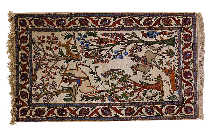 Antique Tabriz Woodland Rug, 4'6
