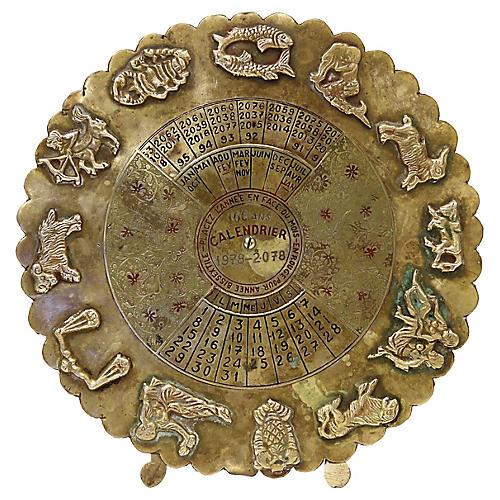 French Brass 100 Year Calendar w/Zodiac