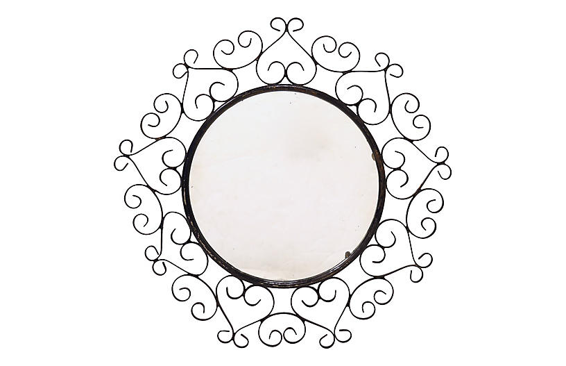 Midcentury French Metal Wall Mirror
