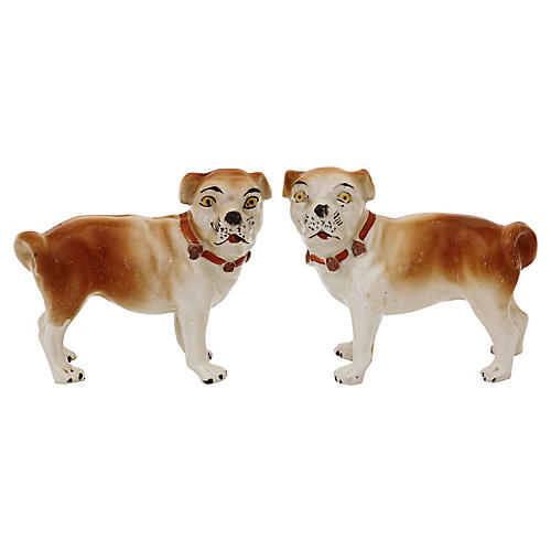 Antique Staffordshire Pug Dogs, Pair