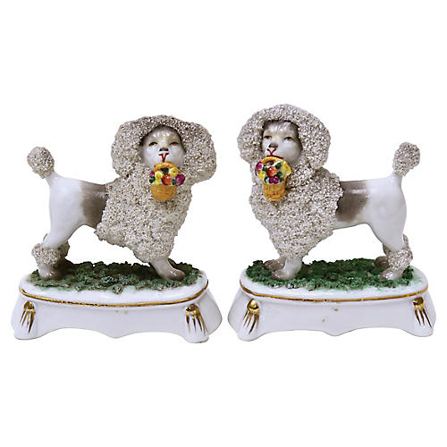 French Porcelain Poodles w/ Baskets, S/2
