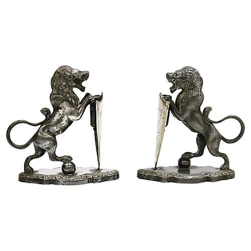 Antique Pewter Trophy Lions, Pair