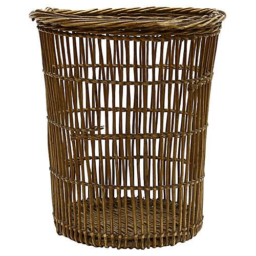 Antique French Wicker Wastebasket
