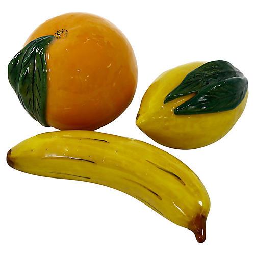 Malicorne French Faience Fruit, 3Pc