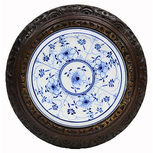 Antique English Carved &Porcelain Trivet