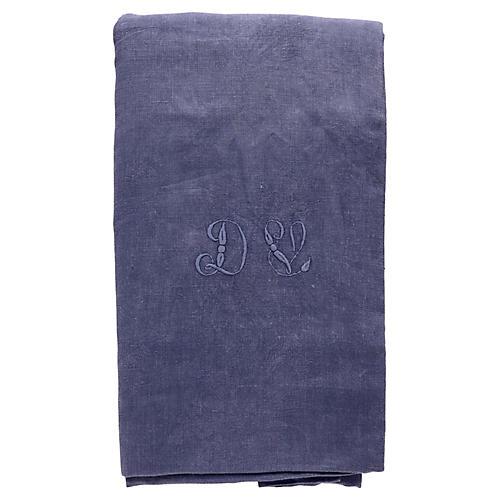 """Antique French Indigo Tablecloth, """"DV"""""""