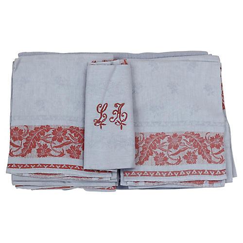 Antique French Linen Napkins, S/10