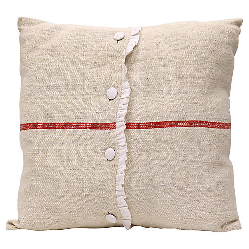 Antique French Linen Pillow w/ Buttons