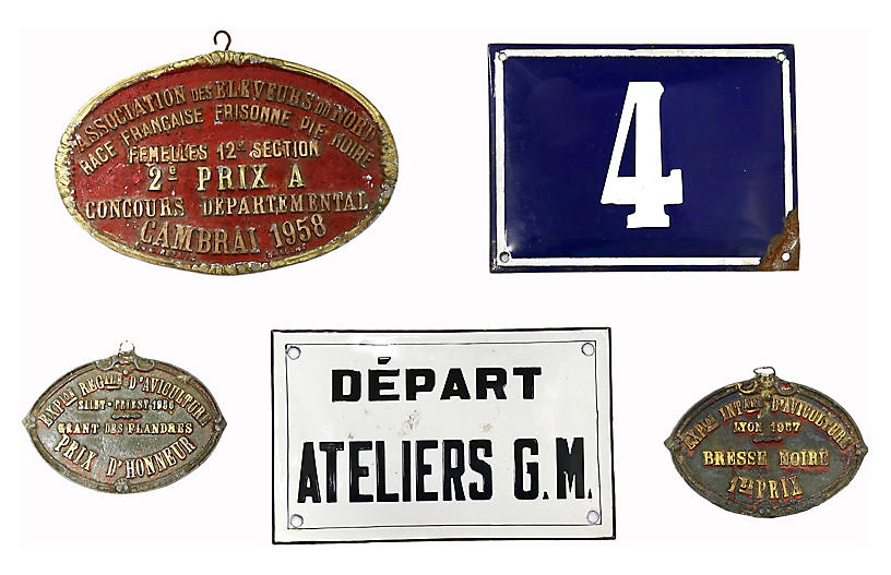 Mixed French Wall Plaques, 5 Pcs