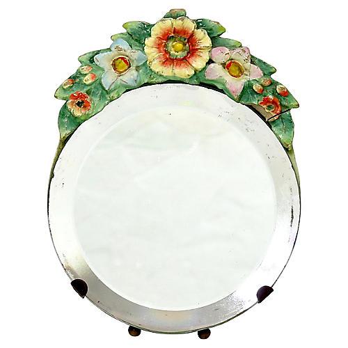 Petite English Barbola Vanity Mirror
