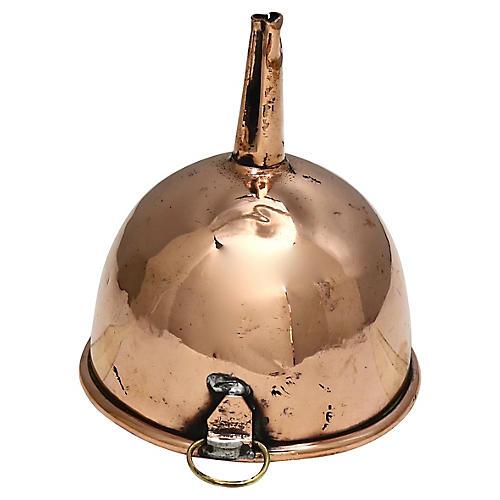 Antique English Copper Wine Funnel