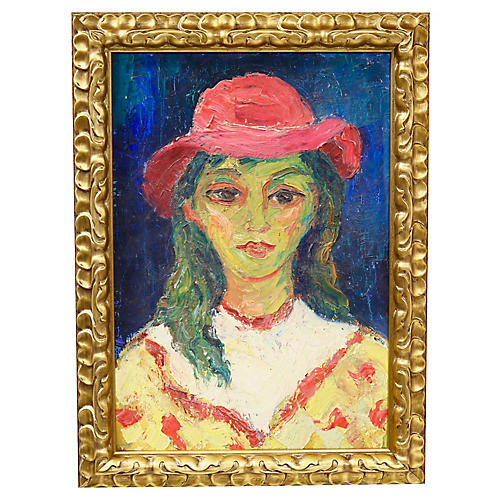 Midcentury French Portrait of a Girl