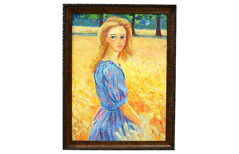 Midcentury French Portrait of a Woman
