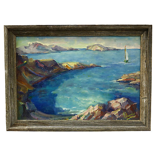 Midcentury French Seascape Painting