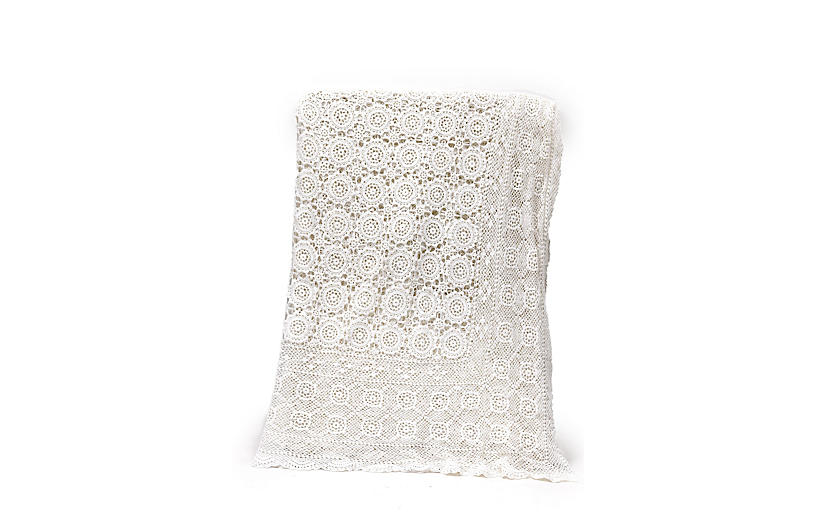 1920s Handmade French Lace Coverlet