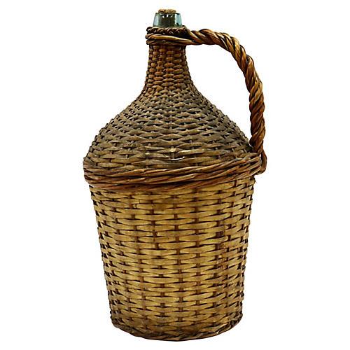 Large French Wicker Demijohn Bottle