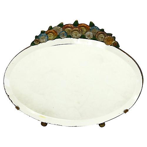 English Barbola Vanity Mirror