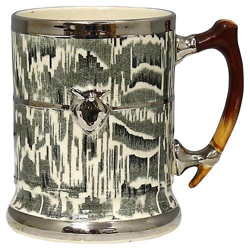 "1930s Silver Shield ""Faux Bois"" Tankard"