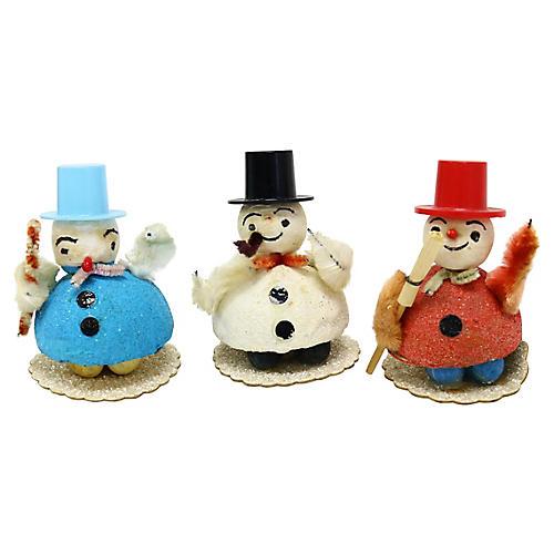 Midcentury Snowman Figures, S/3