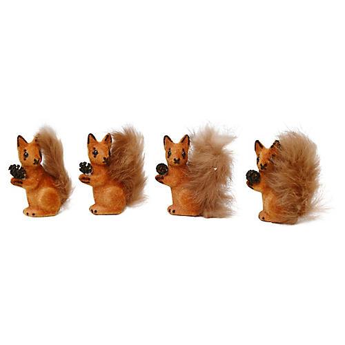 Midcentury Fall Squirrel Decorations,S/4
