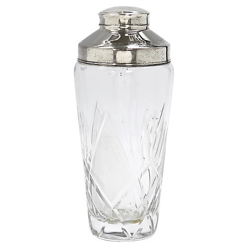 Mid Century Cut Crystal Cocktail Shaker