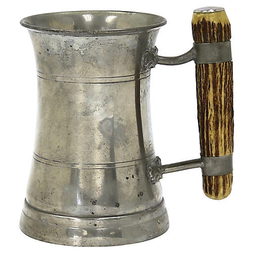 Antique English Stag Horn Ale Tankard