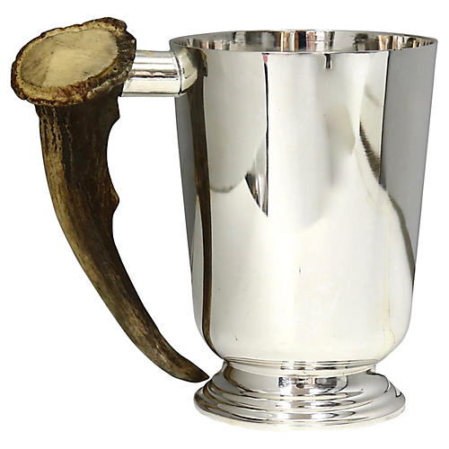 English Silver-Plate & Stag Horn Tankard