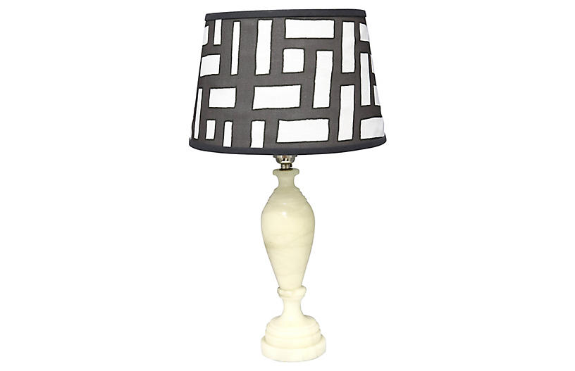 Midcentury Polished Marble Lamp w/ Shade