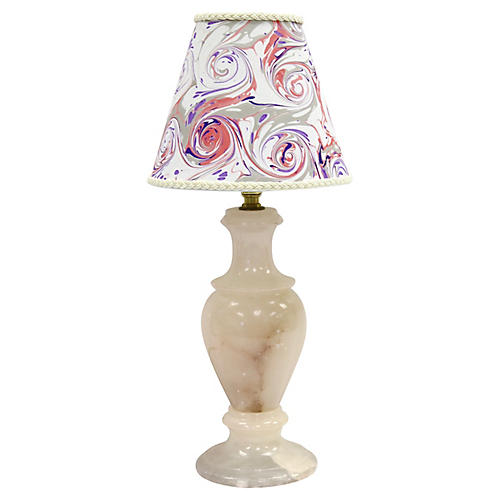 Midcentury Marble Lamp w/ Custom Shade