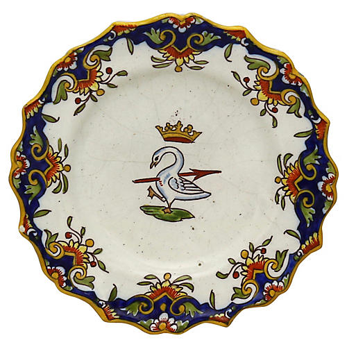 French Wall Plate, Royal Crest & Crown