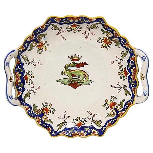 French Faience Plate w/ Royal Crest