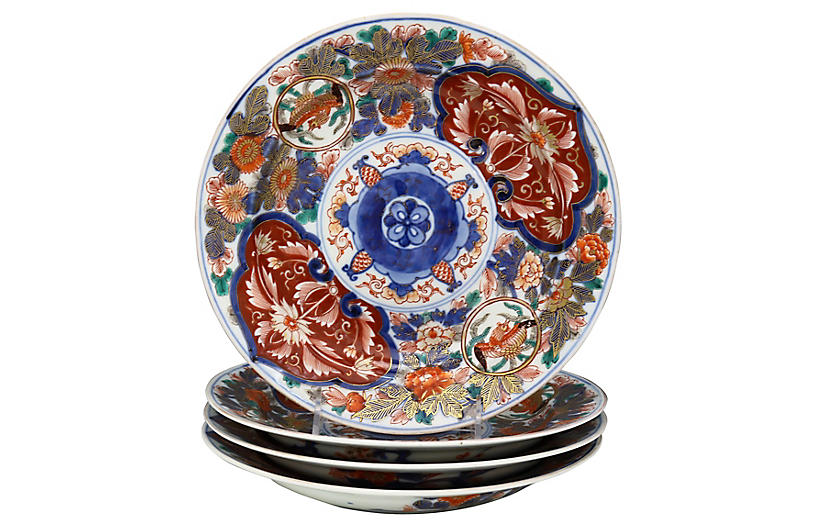 Japanese Imari Porcelain Plates, S/4