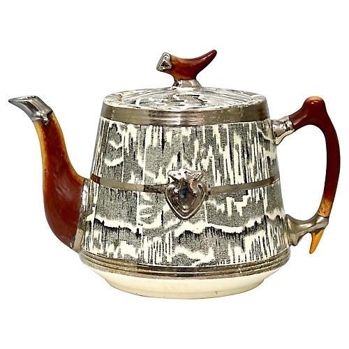 1930s Silver Shield Faux-Bois Teapot