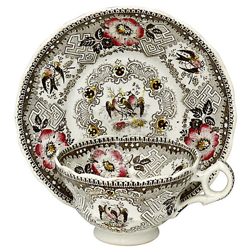Antique Wedgwood Doves Cup & Saucer