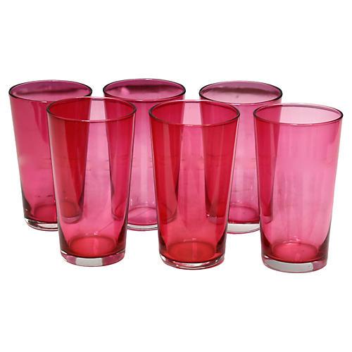 Antique Cranberry Juice Glasses, S/6