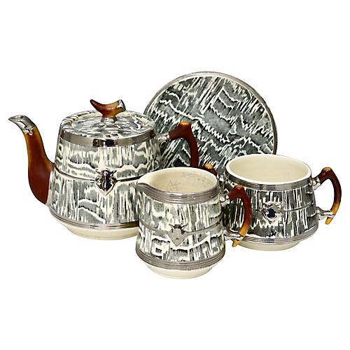1930s Arthur Woods Silver Shield Tea Set