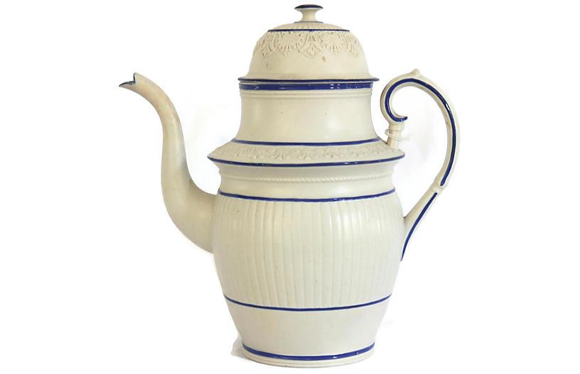1820s English Salt Glaze Coffee Pot