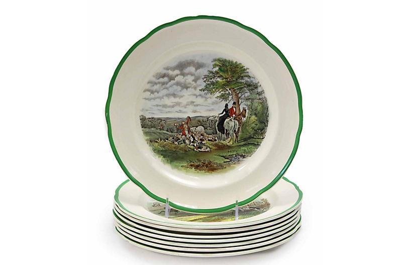 1920s Copeland Spode Fox Hunt Plates,S/8