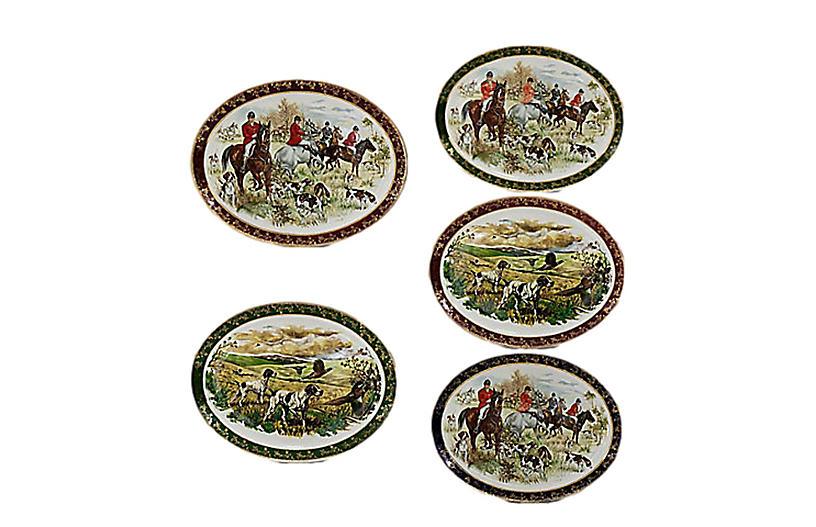 Midcentury English Fox Hunt Plates, S/5