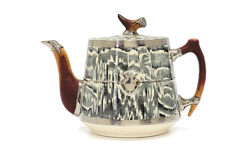 1930s Silver Shield Faux Bois Teapot