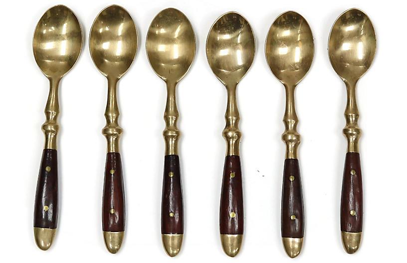 Midcentury French Dessert Spoons, S/6