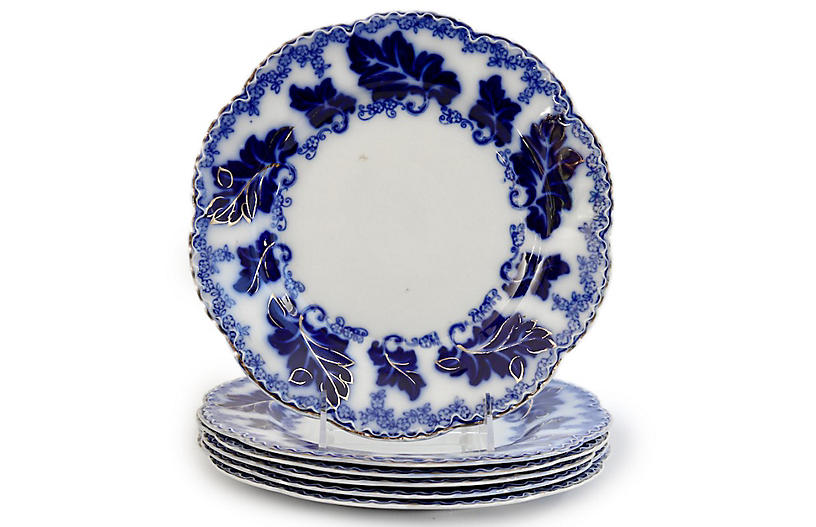 Flow Blue Normandy Grapevine Plates, s/6