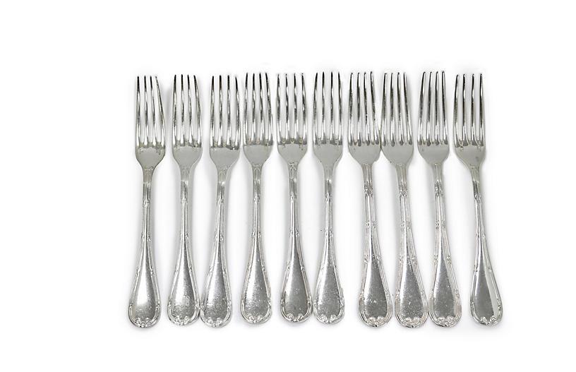 Lg. French Christofle Dinner Forks, S/10