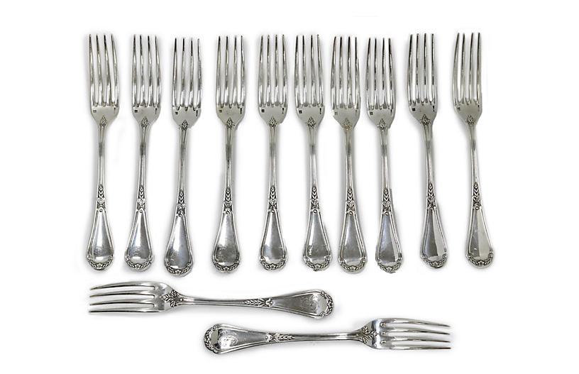 Lg. French Christofle Dinner Forks, S/12