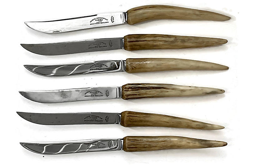 English Stag-Horn Steak Knives, S/6