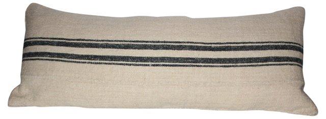 19th-C. French Grain Sack Body Pillow