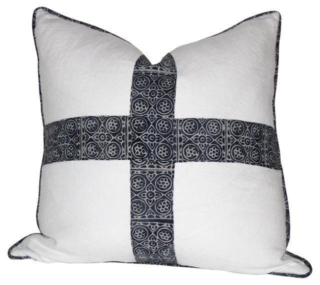 Pillow w/ Indigo Batik Cross