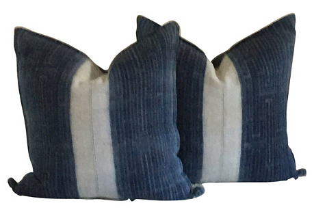 Indigo Hmong Batik Pillows, Pair