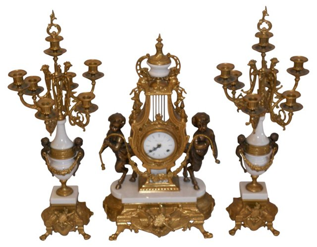 Imperial Clock & Candelabrum Set